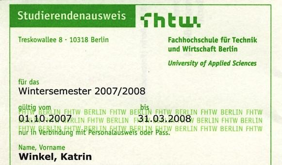 Mein neuer Studentenausweis