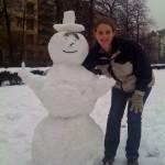 Schneemann und Kaddi.
